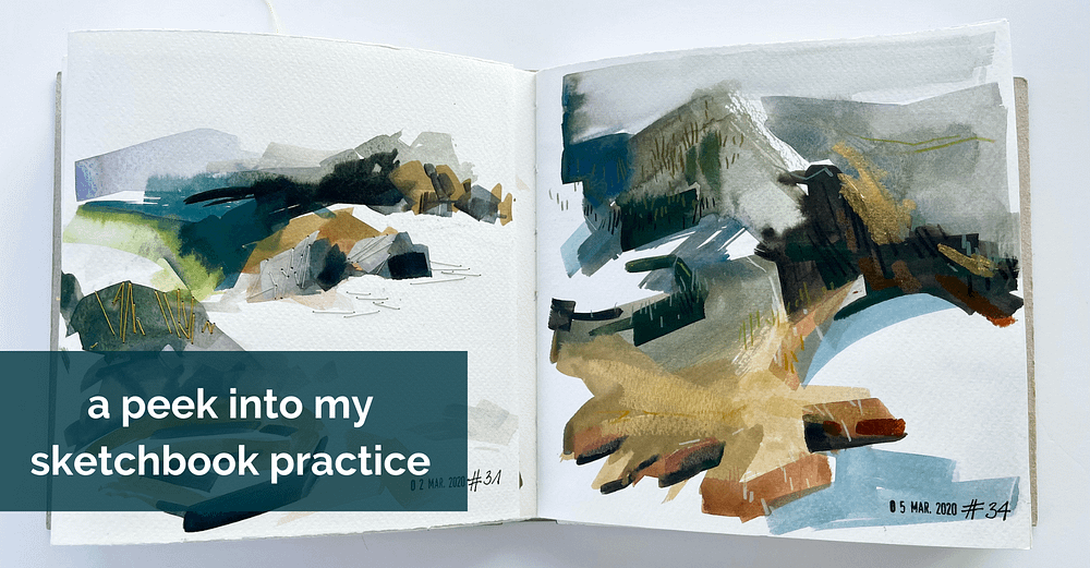 open sketchbook with a gouache painting of the Galician coast in earthy colours on each of the two square pages and text overlay