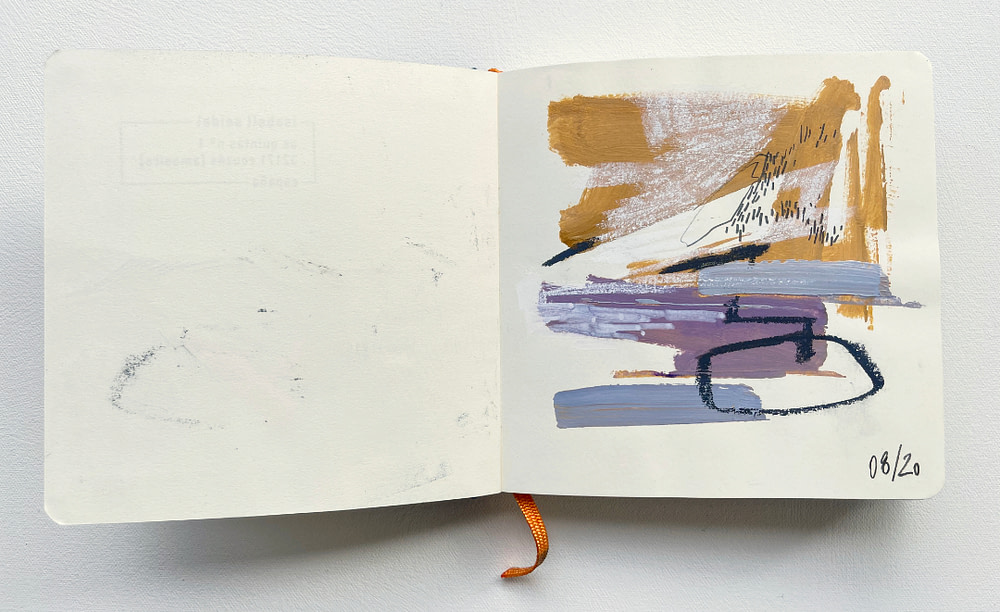 Sketchbook page exploring a more abstract rendering of the Galician landscape