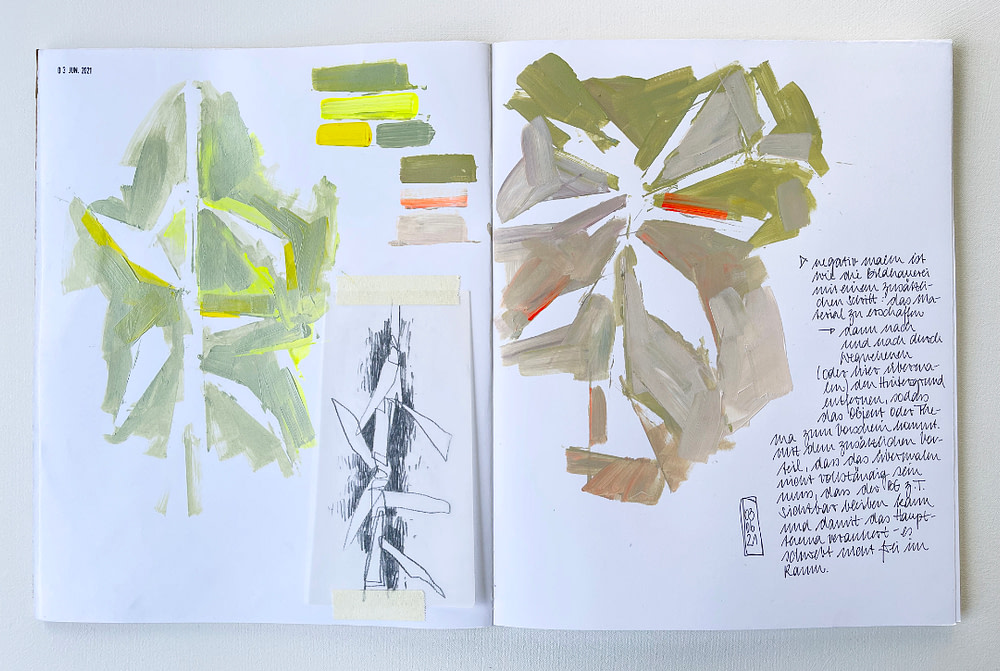 Sketchbook page exploring the shape of f paper spurge through negative space in acrylic paint