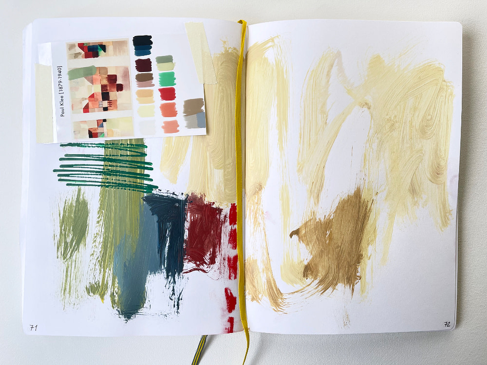 Sketchbook page exploring the colour palette of one of Paul Klee´s paintings