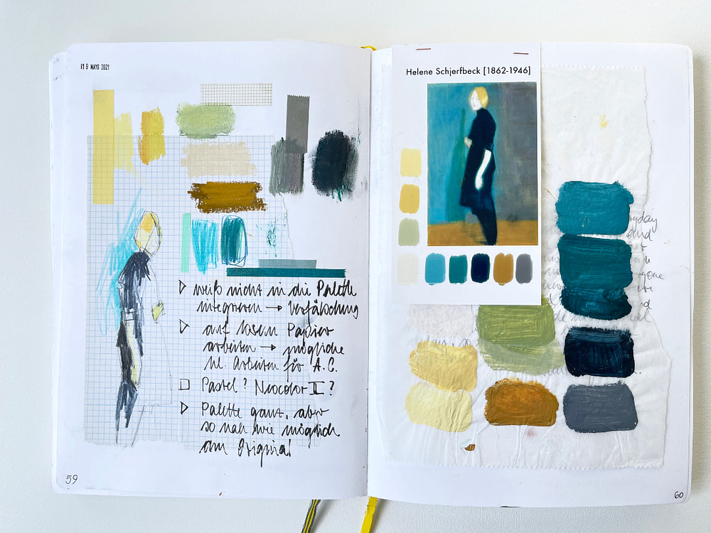 Sketchbook page exploring the colour palette of one of Helene Schjerfbeck´s paintings