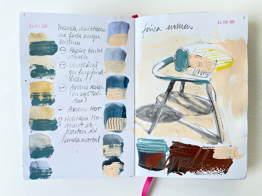 Sketchbook page with technical explorations: Wiping paint at different drying stages