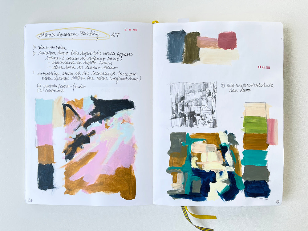 Sketchbook page with thumbnail sketches in acrylic paint for compositional and value study