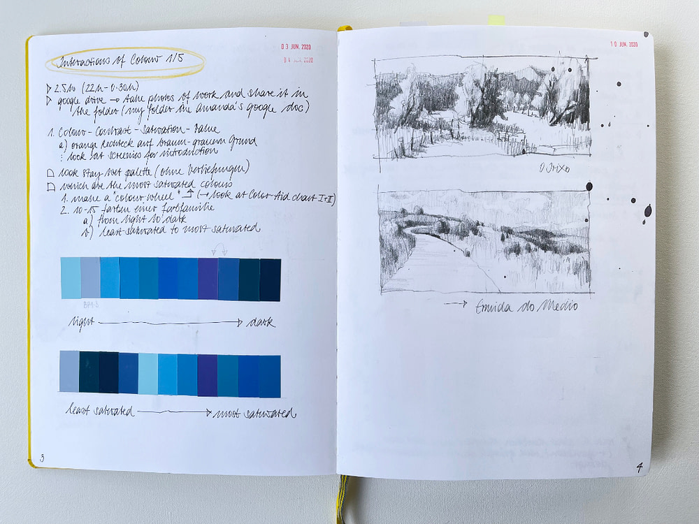 Sketchbook page exploring colour value and saturation and plein air sketches from a recent book project