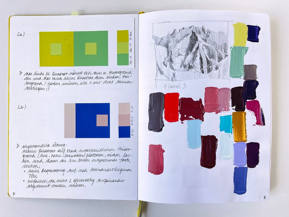 Sketchbook page exploring the interaction of colours and a palette study with value sketch