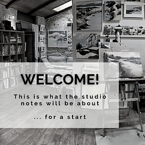 artist studio in black and white with partial text overlay for welcome blogpost