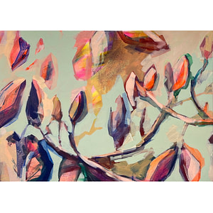 Contemporary abstract Magnolia painting in sage green, flesh tones and hints of yellow