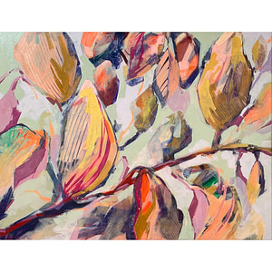 Contemporary abstract Magnolia painting in sage green, flesh and ochre tones