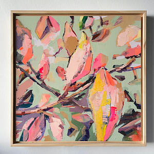 Original acrylic Magnolia painting in a natural wooden frame - 40 x 40 cm