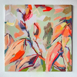 Modern abstract Magnolia painting in sage green, and orange on white background