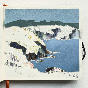 Drawing of the Galician coast with pencil and colour pencil and background and water in gradient spraypaint