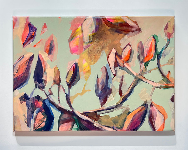Contemporary abstract Magnolia painting in sage green, flesh tones and hints of yellow shown on white background
