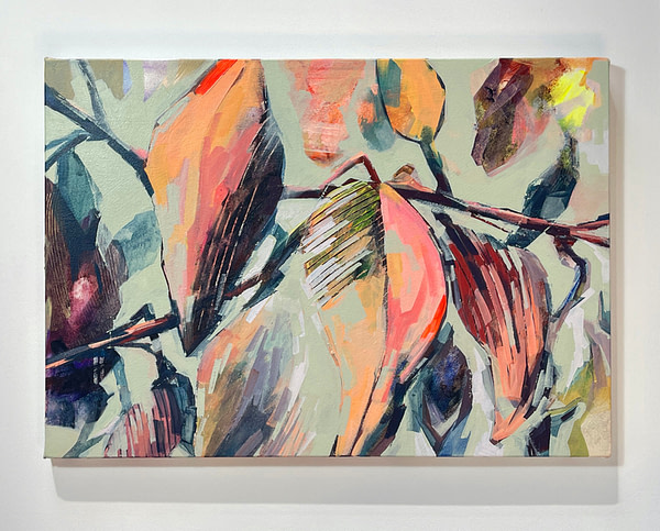 Contemporary abstract Magnolia painting in sage green, flesh tones and dark accents colour shown on white background