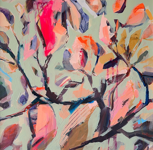 Modern abstract Magnolia painting in sage green, light pink, orange and dark tones