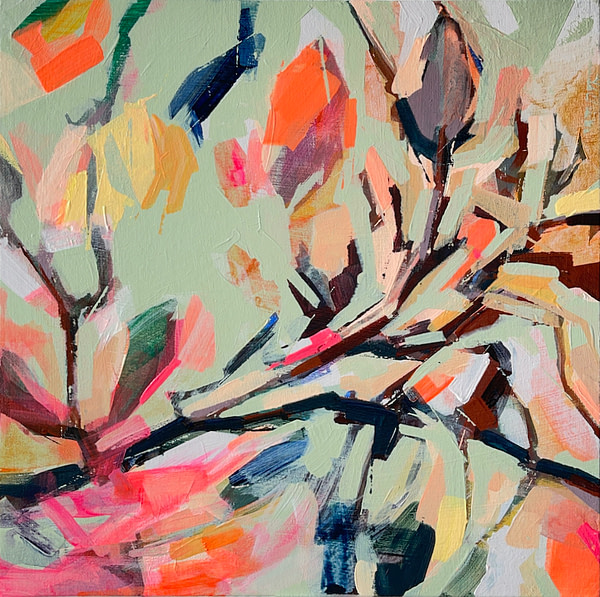 Modern abstract Magnolia painting in sage green, and pink