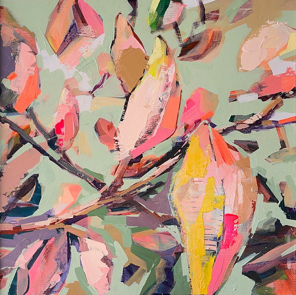 Modern abstract Magnolia painting in sage green, light pink, orange, yellow and dark tones