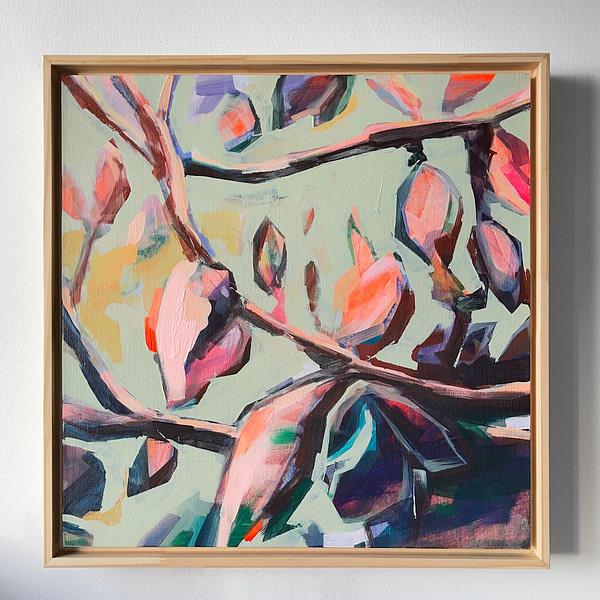 Original contemporary acrylic Magnolia painting in a natural wooden frame - 40 x 40 cm