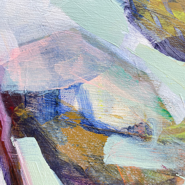 Detail of a vibrant contemporary Magnolia painting in sage green and flesh tones and hints of yellow