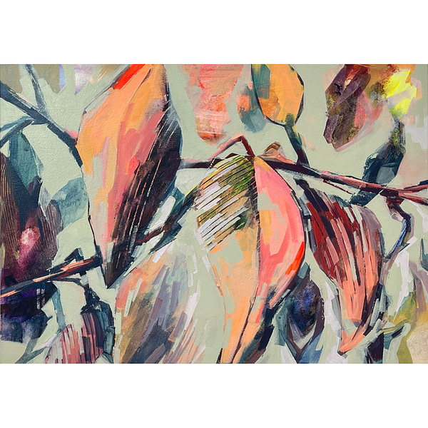 Contemporary abstract Magnolia painting in sage green, flesh tones and dark accents colour
