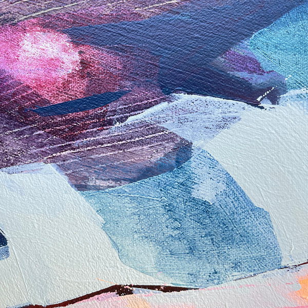 Detail of a contemporary abstract Magnolia painting in sage green, flesh tones and dark accents colour