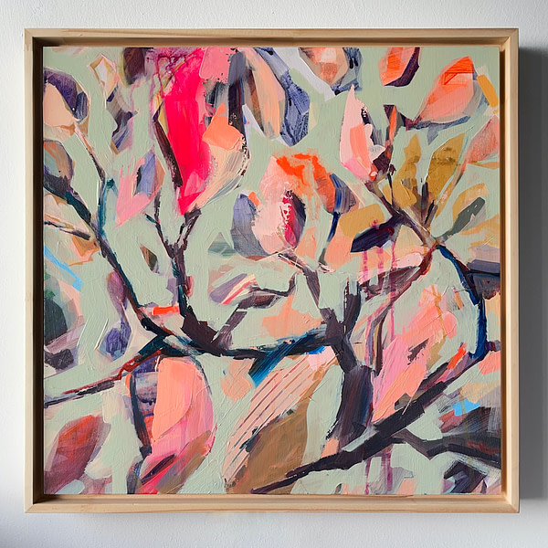 Original modern acrylic Magnolia painting in a natural wooden frame - 40 x 40 cm