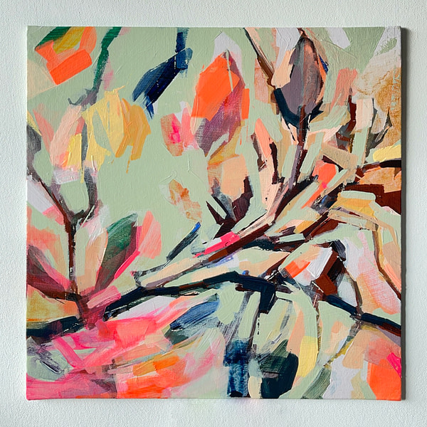 Modern abstract Magnolia painting in sage green, and pink shown on white background