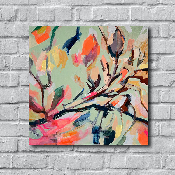 Original Magnolia painting shown on a white brick wall