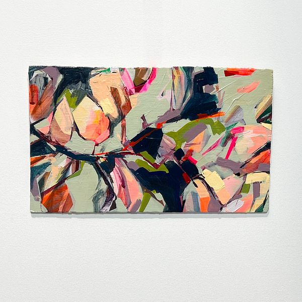 Modern abstract Magnolia painting in sage green, and orange shown on white background