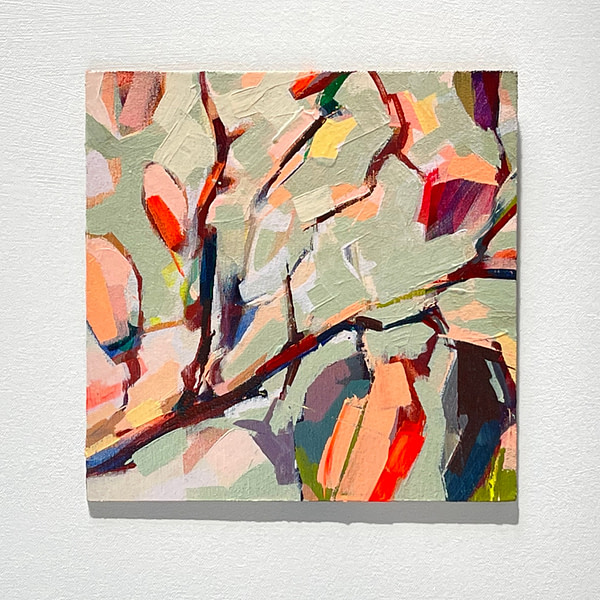 Modern abstract Magnolia painting in sage green, and warm orange tones shown on a white background