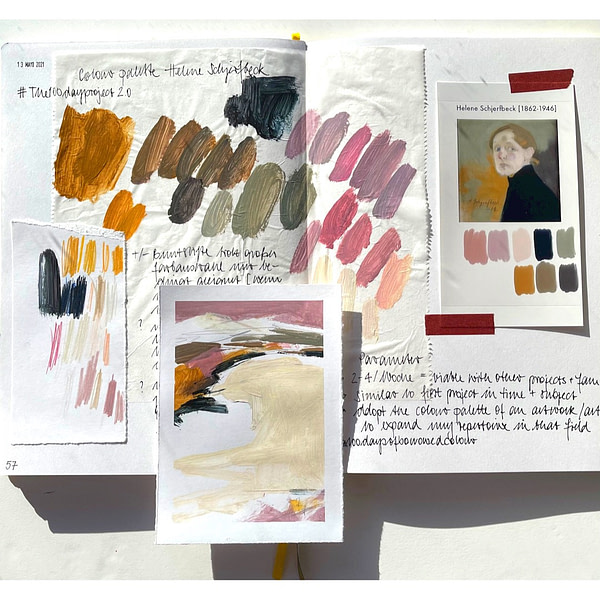 open sketchbook with an imagen of the reference artwork by Helene Schjerfbeck and the digitally and manually extracted colour palette - on top the first abstract landscape using the current palette