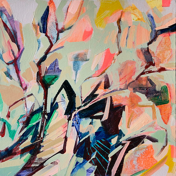 Modern abstract Magnolia painting in sage green, orange and dark tones
