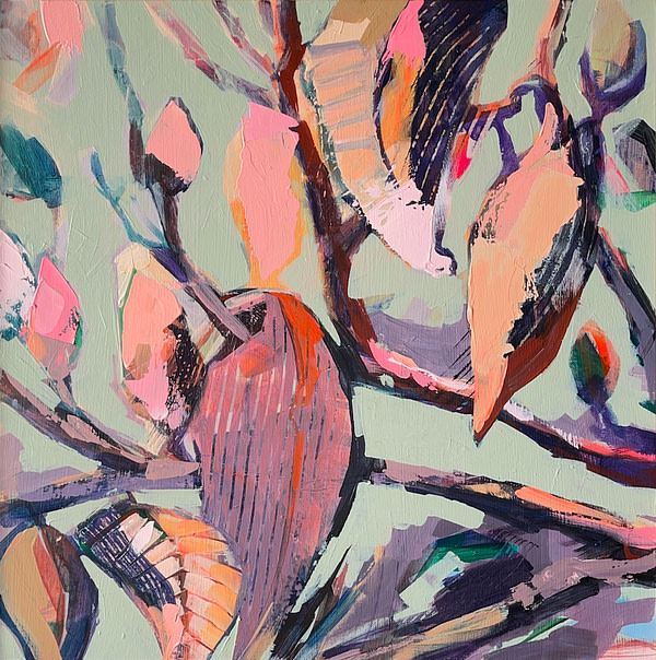 Contemporary abstract Magnolia painting in sage green, light pink, flesh, violet and dark tones
