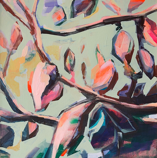Contemporary abstract Magnolia painting in sage green, light pink, orange and dark tones