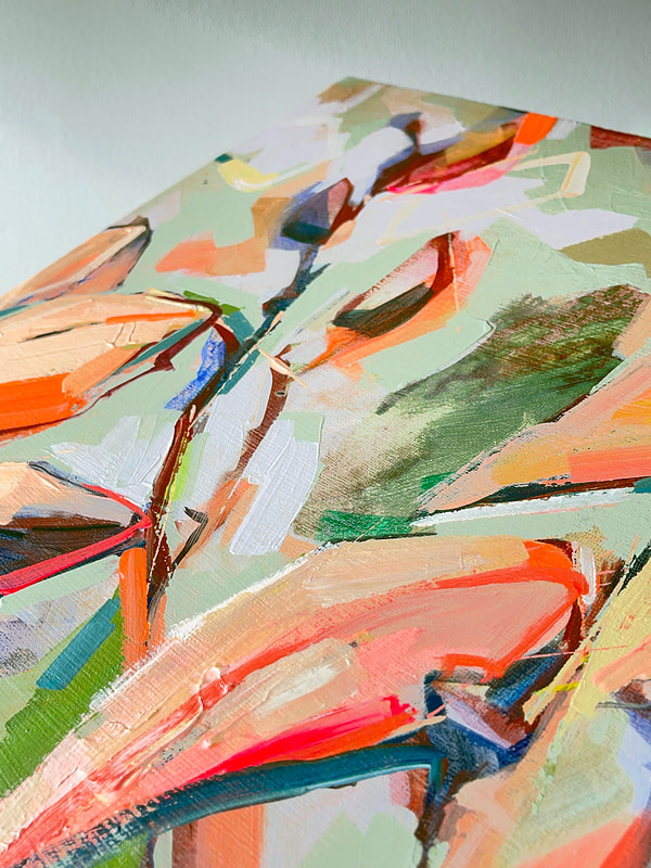 Detail of a vibrant contemporary Magnolia painting in sage green and orange