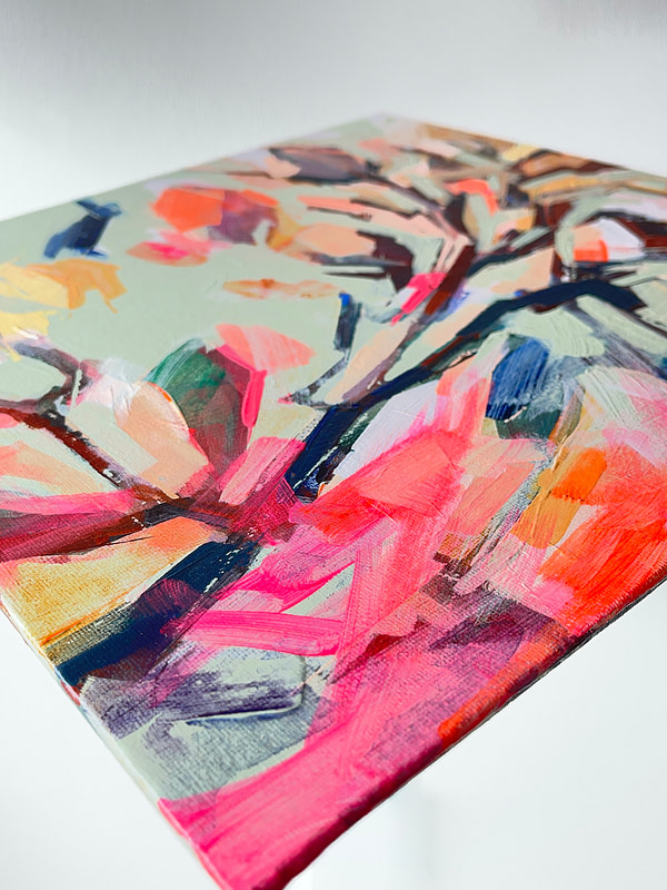 Detail of a vibrant contemporary Magnolia painting in sage green and pink