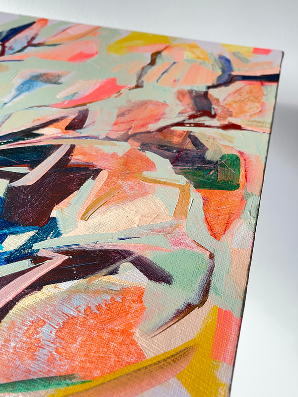Detail of a vibrant contemporary Magnolia painting in sage green, orange and dark tones