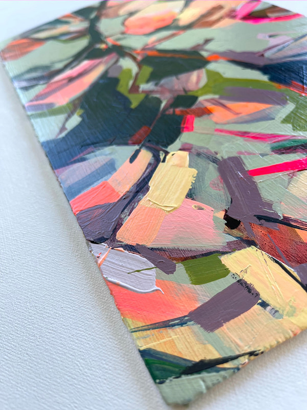 Detail of a vibrant contemporary Magnolia painting in sage green, pink and dark tones