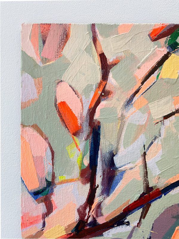 Detail of a vibrant contemporary Magnolia painting in sage green and warm orange tones