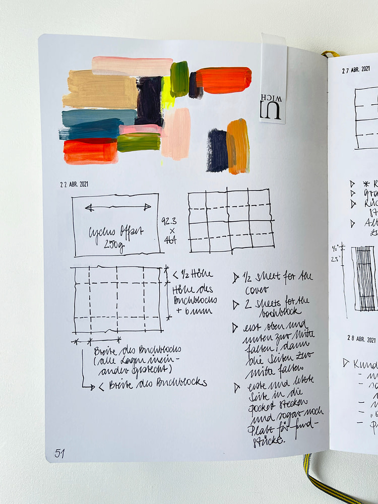 Sketchbook page with colour exploration and a page layout for binding a custom sketchbook