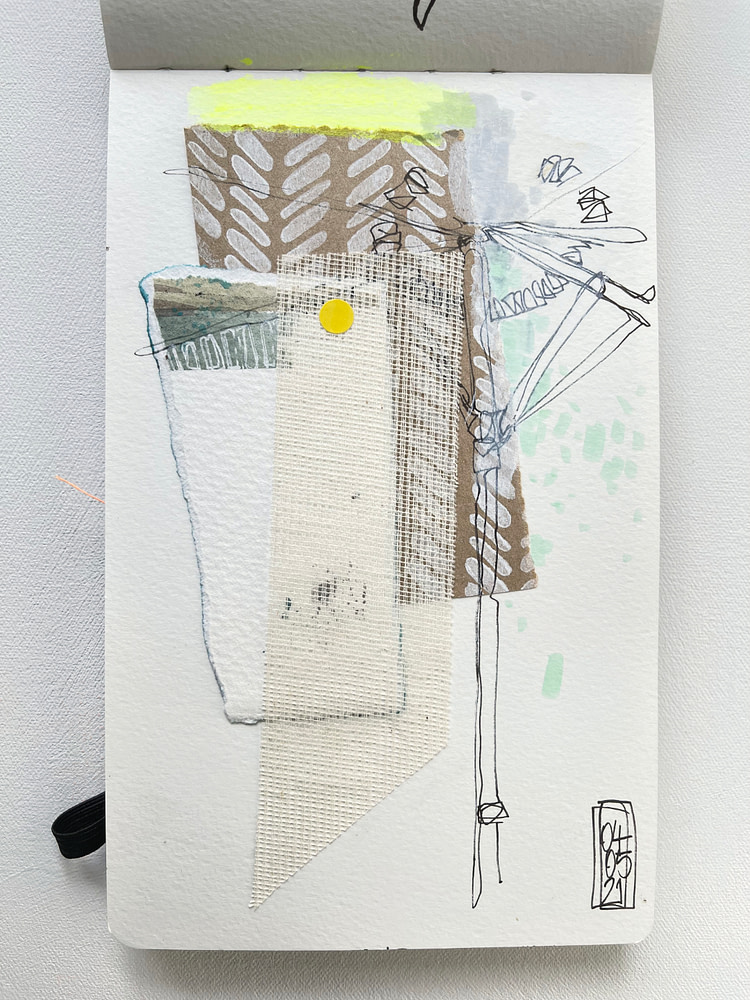 Sketchbook page with collage and line drawing