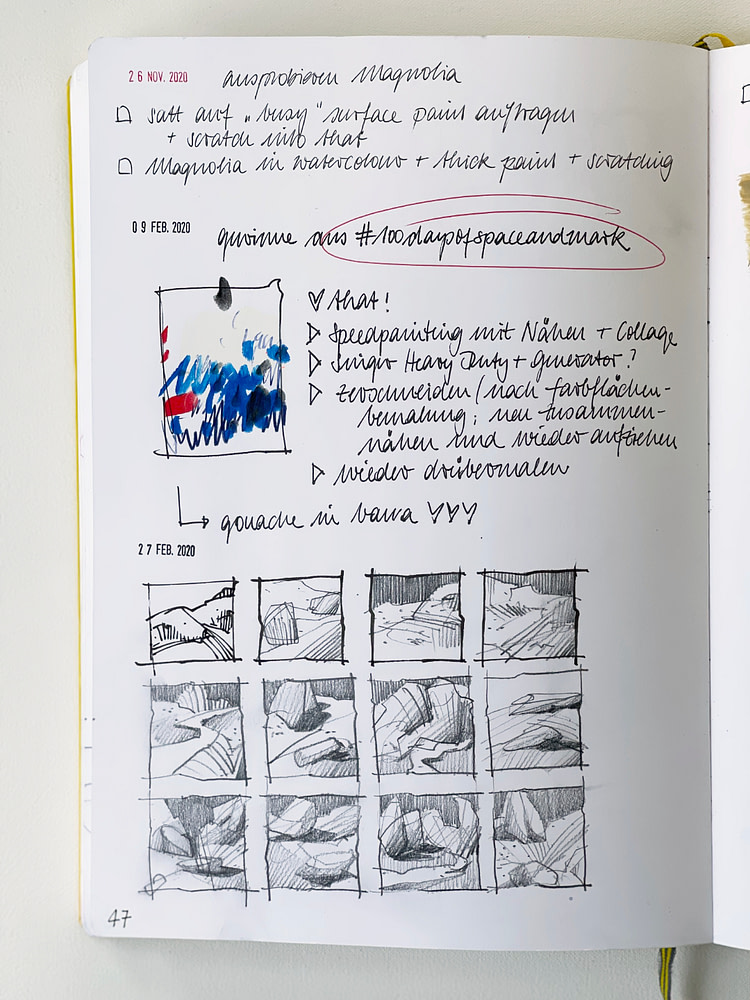 Sketchbook page with ideas for new paintings and compositional thumbnail sketches
